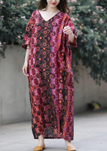 French v neck baggy cotton clothes Catwalk floral loose Dresses