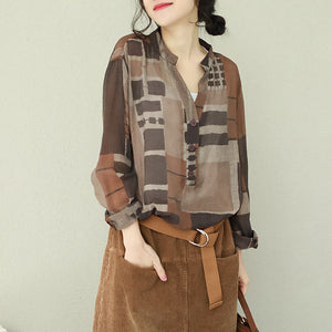 French v neck cotton shirts women Women Photography brown Plaid box shirt