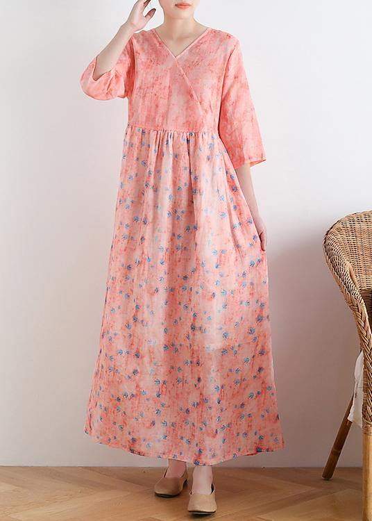 French v neck half sleeve linen summer clothes For Women pink floral Dresses