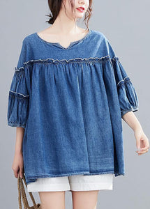 French v neck lantern sleeve cotton summer top Outfits denim blue shirts