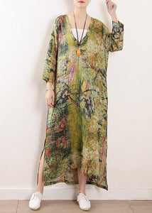 French v neck side open linen clothes For Women Photography green print Dress