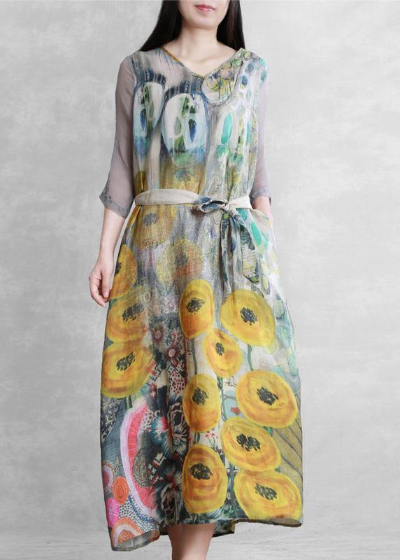 French v neck tie waist  clothes Photography yellow print Dress