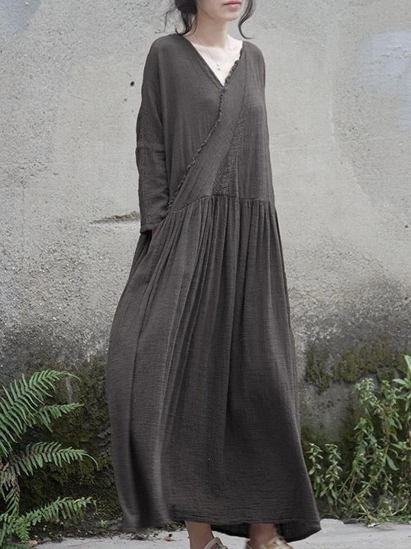 French v neck wrinkled cotton linen dress Tutorials gray Dress