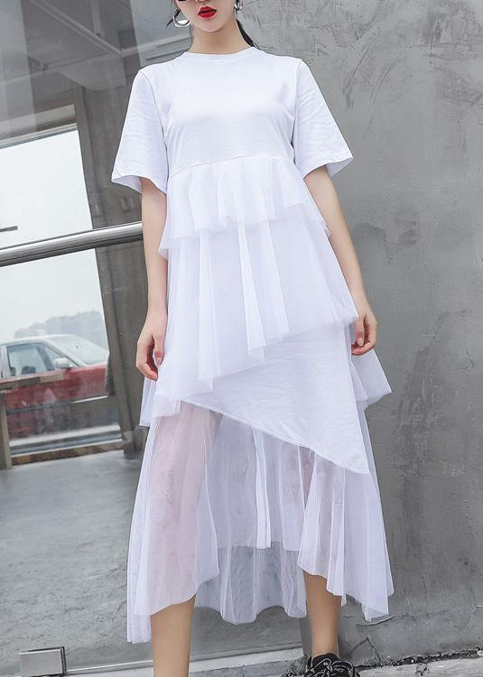 French white cotton Tunic patchwork tulle Robe summer Dresses