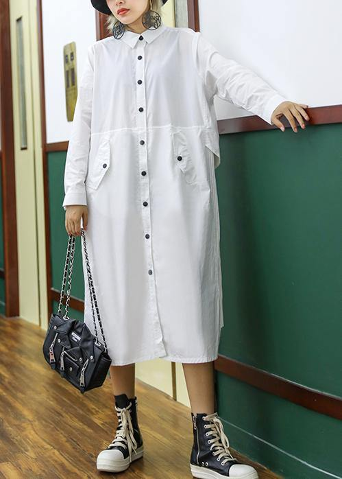 French white cotton shirt dress pattern pockets patchwork Maxi lapel Dress