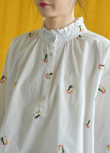 French white embroidery cotton crane tops stand collar Knee fall tops