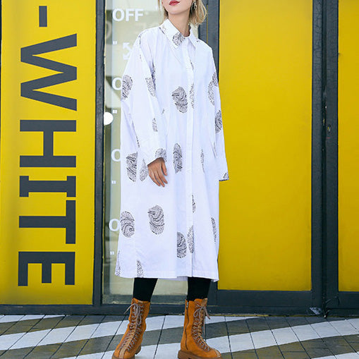 French white print Cotton clothes Women Fine Sewing pockets Midi shirt Dresses