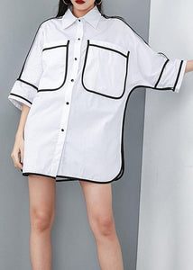 French women blouses Vintage Personality Solid Color Pockets Summer Shirt