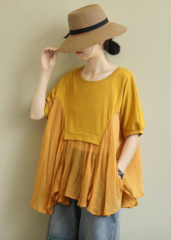 French yellow cotton blouses for women o neck patchwork Art blouses