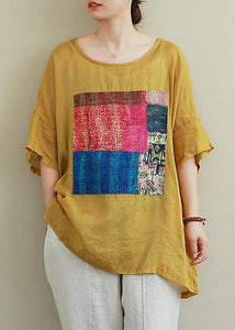Fransk gul linned Blouse o hals patchwork sommer top