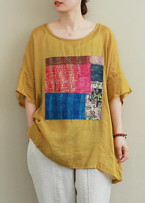 French yellow linen Blouse o neck patchwork summer top