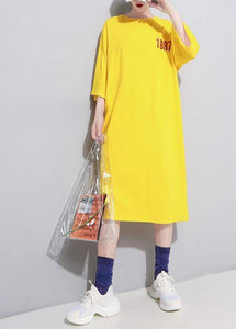 French yellow linen Long Shirts o neck cotton robes summer Dress