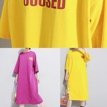 Load image into Gallery viewer, French yellow linen Long Shirts o neck cotton robes summer Dress