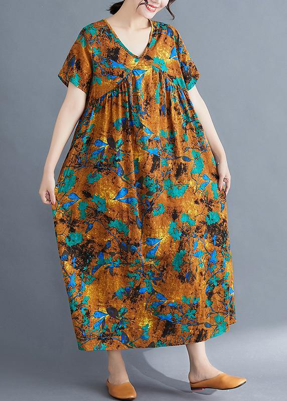French yellow print cotton linen clothes v neck Cinched loose summer Dress