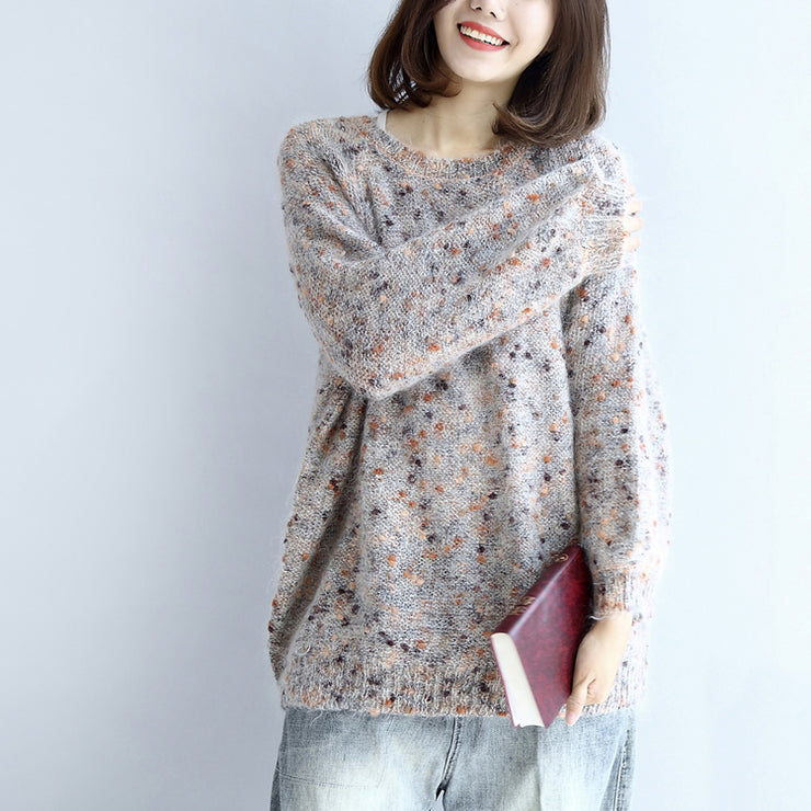 Fuzzy rabbit fur knit sweaters women warm winter dresses pullover