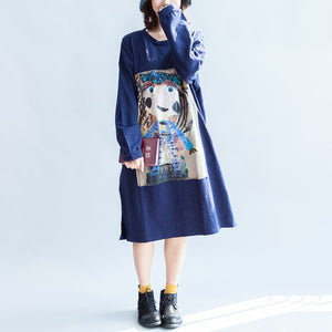 Girl print navy cotton dresses oversize caftans shift dress causal style