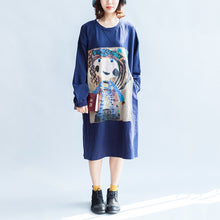 Load image into Gallery viewer, Girl print navy cotton dresses oversize caftans shift dress causal style