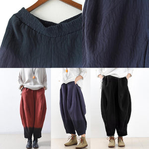 Gradient blue harem pants boho linen pants loose trousers plus size