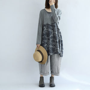 Gray clouds print patchwork winter dresses plus size sweat dress cotton maternity clothing