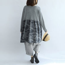 Load image into Gallery viewer, Gray clouds print patchwork winter dresses plus size sweat dress cotton maternity clothing