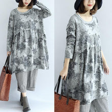 Load image into Gallery viewer, Gray knit print cotton dresses oversized pullover maternity dress blouses