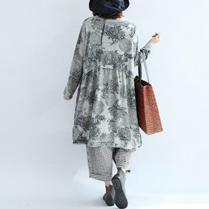 Gray knit print cotton dresses oversized pullover maternity dress blouses