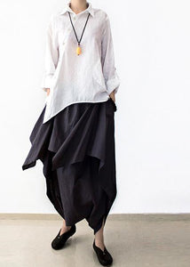 Gray layered linen carrot pants plus sized casual linen pants asymmetrical design