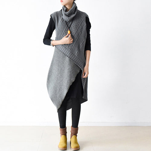 Gray sweaters set warm knit dresses two pieces cross design 2018 spring