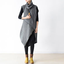 Load image into Gallery viewer, Gray sweaters set warm knit dresses two pieces cross design 2018 spring