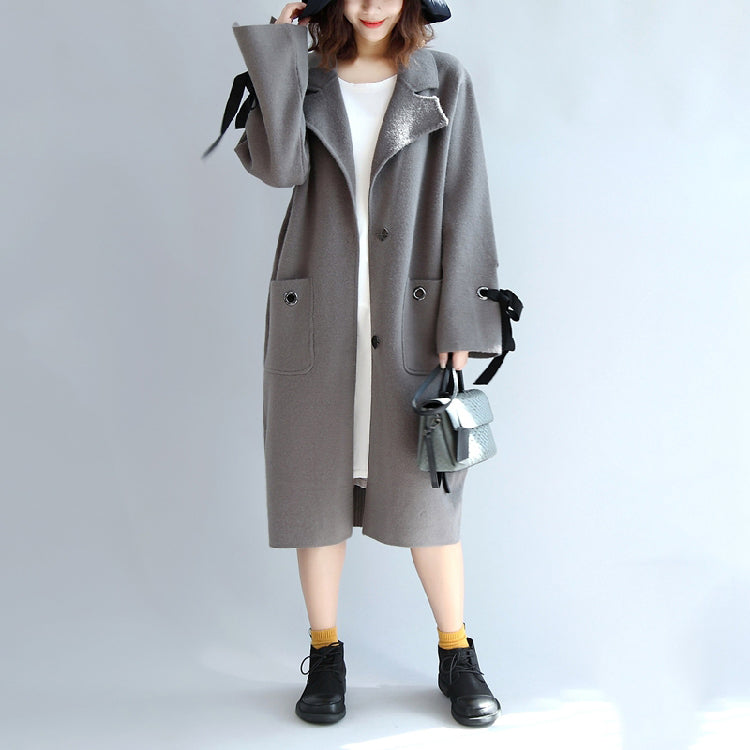 Gray woolen trench coat plus size wind breaker jackets