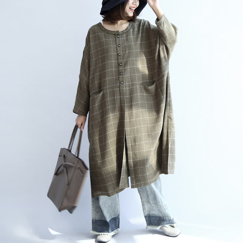 Green plaid oversized dresses Plus size woolen dresses long shirts caftans