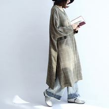 Load image into Gallery viewer, Green plaid oversized dresses Plus size woolen dresses long shirts caftans
