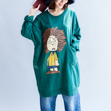 Load image into Gallery viewer, Green print oversize sweat dresses cotton shift dress pullover