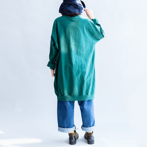 Green print oversize sweat dresses cotton shift dress pullover