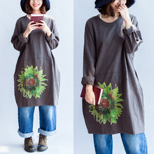 Afbeelding in Gallery-weergave laden, Green sunflowers cotton dresses in dark gray oversize cotton pullover blouses spring dress