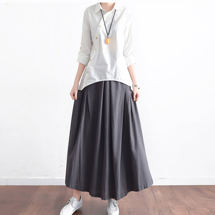 Grey long linen maxi skirt pockets pleated skirts