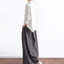 Load image into Gallery viewer, Grey long linen maxi skirt pockets pleated skirts