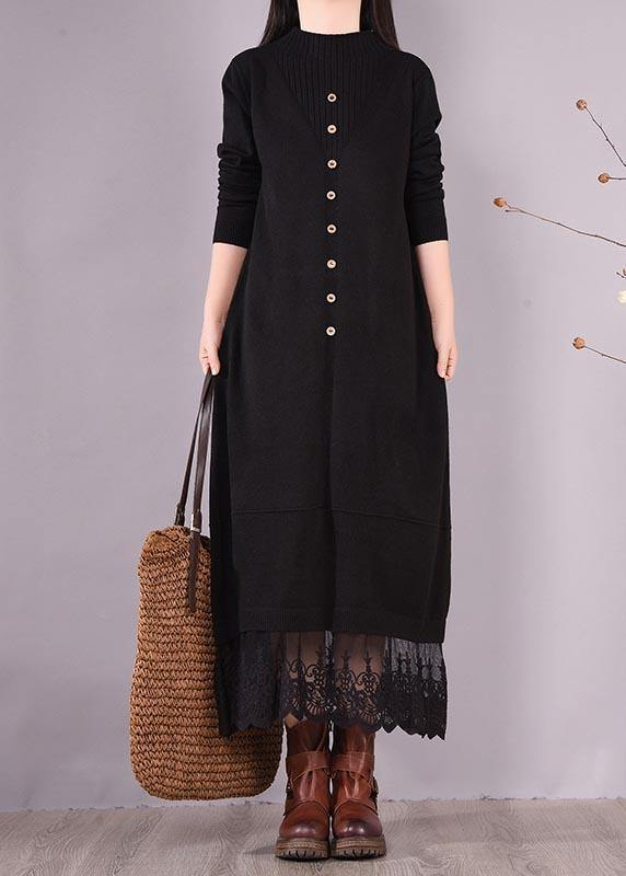 Handmade Black Clothes O Neck Patchwork Lace Kaftan Spring Dresses