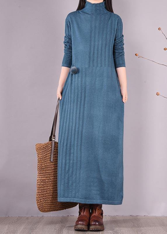 Handmade Blue Dresses High Neck Long Spring Dresses
