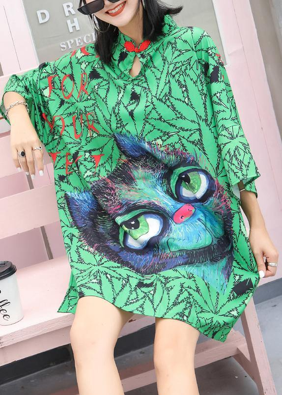 Handmade Chinese Button Cotton quilting dresses Neckline green prints Dresses summer