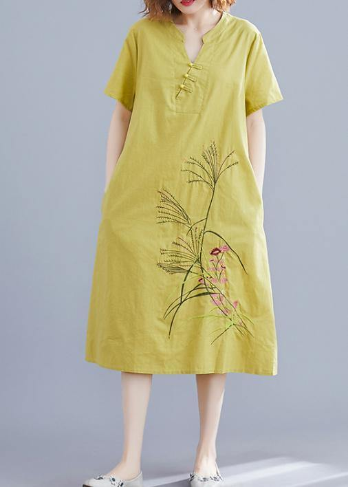 Handmade Chinese Button linen dresses Tutorials yellow embroidery Dress summer