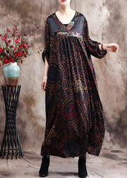 Handmade Chocolate Silk Dress Print Robe Kaftans