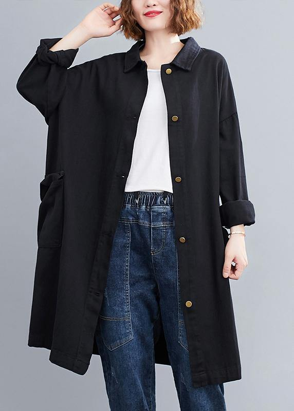 Handmade Lapel Patchwork Spring Tops Women Tunic Black Blouse