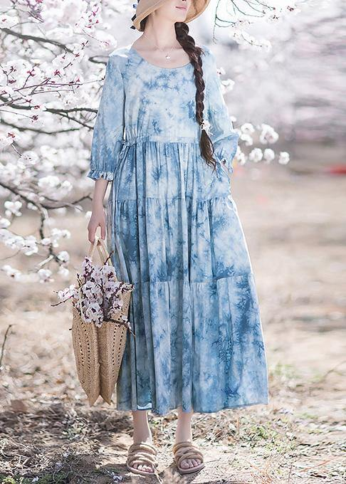 Handmade O-Neck Drawstring Summer Soft Long Blue Dress
