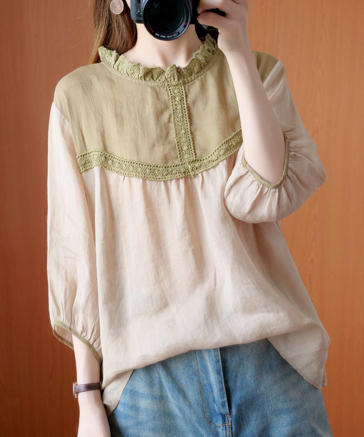 Handmade Peter pan Collar patchwork lace clothes For Women nude blouses
