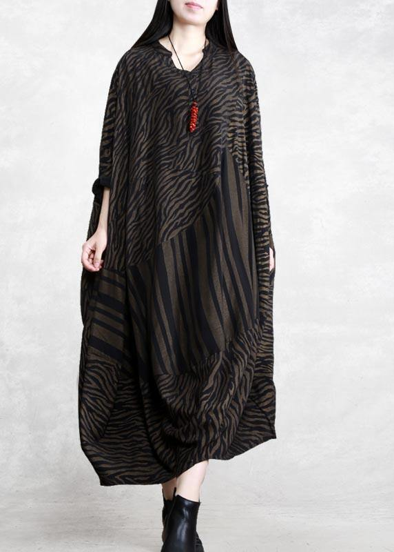 Handmade V Neck Asymmetric Spring Clothes Work Chocolate Striped Robe Dress
