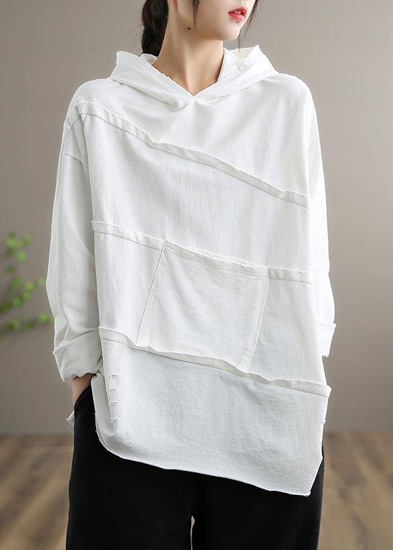 Handmade White Blouses For Women Hooded Patchwork Daily Spring Tops