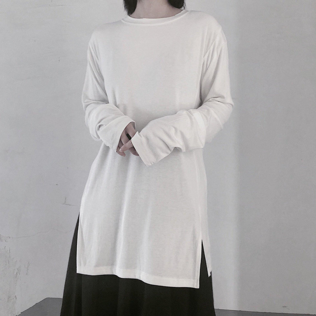 Handmade White Clothes For Women O Neck Side Open baggy Shirt