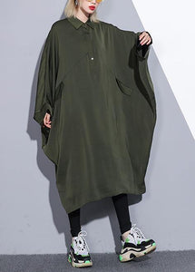 Handmade arm green cotton clothes batwing sleeve A Line summer Dress