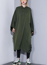 Load image into Gallery viewer, Handmade arm green cotton clothes batwing sleeve A Line summer Dress